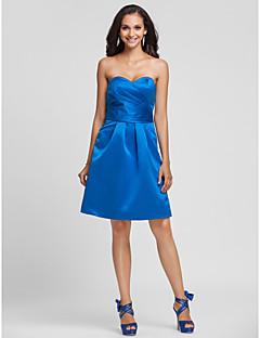 hjemkomst knælang satin brudepige kjole - kongeblå plus størrelser a-line / prinsesse kæreste / stropløs