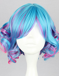 Lolita Wigs Punk Lolita Color Gradient Short / Curly Blue / Fuschia Lolita Wig 35 CM Cosplay Wigs Patchwork Wig For Women