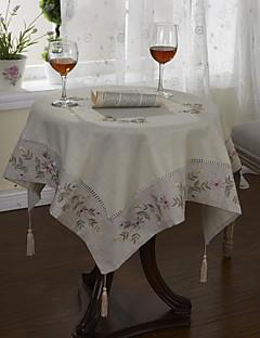 Classic White Cotton Blend linge Draps Table Floral