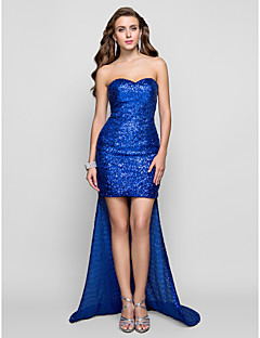 Formal Evening Dress - Sparkle & Shine Sheath / Column Sweetheart Asymmetrical Sequined with Sequins