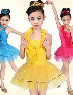 Robes(Bleu / Rouge / Jaune,Elasthanne / Tulle,Danse latine / Spectacle)Danse latine / Spectacle- pourEnfant Ruches / PaillettesDanse