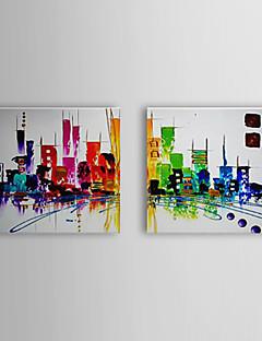 olieverfschilderij abstract stadsbeeld set van 2 1307-ab0501 met de hand beschilderd doek