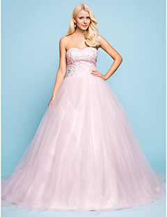 웨딩 드레스 - 블러슁 핑크 볼 가운 채플 트레인 스윗하트 튤/레이스 플러스 사이즈