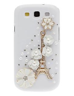 Bling Bling Noble Eiffel og Flower Design Hard Case med Rhinestone til Samsung Galaxy S3 i9300
