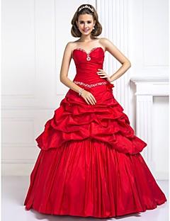 프롬/저녁 정장파티/성인식/스위트 16 드레스 - 루비 볼 가운 바닥 길이 스위트하트 태피터 플러스 사이즈