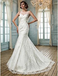 Trumpet/Mermaid Plus Sizes Wedding Dress - Ivory Sweep/Brush Train Jewel Tulle/Lace