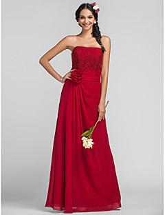 Robe de Demoiselle d'Honneur - Couleur Rubis Fourreau Sans bretelles Longueur ras du sol Mousseline polyester Grandes tailles