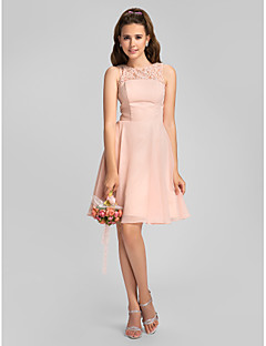 Lanting Knee-length Chiffon Bridesmaid Dress - Pearl Pink Plus Sizes / Petite A-line Jewel