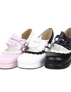 Handgjorda PU läder 4.5cm hög klack Sweet Lolita Skor med Bow Belt