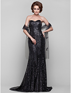 Sheath/Column Plus Sizes / Petite Mother of the Bride Dress - Black Sweep/Brush Train Sleeveless Sequined