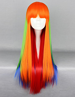 Lolita Wigs Punk Lolita Color Gradient Long Orange Lolita Wig 75 CM Cosplay Wigs Patchwork Wig For Women