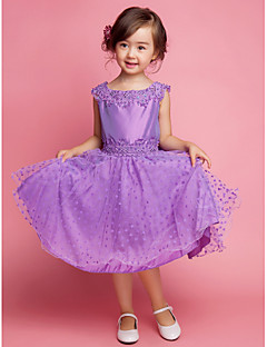 A-line / Princess Knee-length Flower Girl Dress - Cotton / Polyester Sleeveless Square with Embroidery / Lace