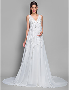 LAN TING BRIDE Plus Size A-line Wedding Dress - Court Train V-neck Chiffon Lace with Appliques Sequin
