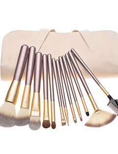 12pcs Pony hair Makeup Brushes set Coffee concealer/powder/blush brush eyeshadow/eyelash//brow/lip brush With Off-white Leather Pouch