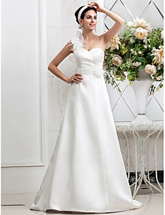 Lanting Bride® A-line Petite / Plus Sizes Wedding Dress - Chic & Modern / Glamorous & Dramatic Fall 2013 Sweep / Brush Train One Shoulder