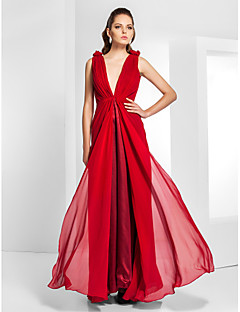 TS Couture® Formal Evening / Military Ball Dress - Ruby Plus Sizes / Petite Sheath/Column V-neck Floor-length Chiffon