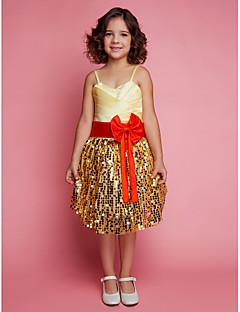 Ball Gown Knee-length Flower Girl Dress - Satin/Lace Sleeveless
