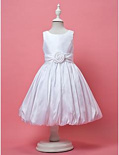 LAN TING BRIDE Linha A Princesa Até os Joelhos Vestido para Meninas das Flores - Tafetá Decorado com Bijuteria comPregueado Flor(es)