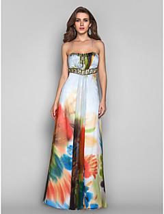 Formal Evening/Prom/Military Ball Dress - Print Plus Sizes A-line/Princess Spaghetti Straps Floor-length Chiffon