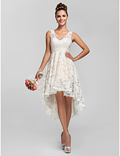 LAN TING BRIDE Asymmetrical Lace See Through Bridesmaid Dress - A-line / Princess V-neck Plus Size / Petite with Lace