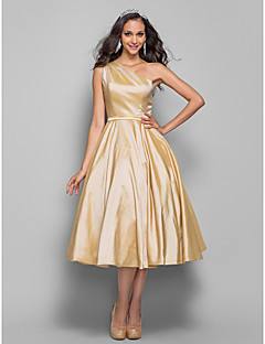 homecoming prom / hjemkomst / cocktail party dress - champagne pluss størrelser a-linje / prinsesse en skulder te-lengde taffeta