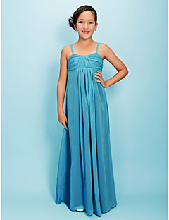 Floor-length Chiffon Junior Bridesmaid Dress - Jade Sheath/Column Spaghetti Straps