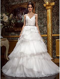 웨딩 드레스 - 아이보리(색상은 모니터에 따라 다를 수 있음) A 라인/프린세스 채플 트레인 스트랩 튤 플러스 사이즈