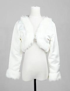 satin élégant à manches longues et fausse fourrure mariée mariage wrap / veste boléro soir haussement
