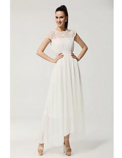 женские простота случайным вышивка чистый цвет шифон с коротким рукавом платье макси