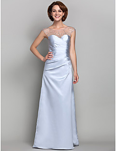 Lanting Sheath/Column Plus Sizes / Petite Mother of the Bride Dress - Silver Floor-length Sleeveless Satin / Tulle
