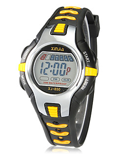 Børn Sportsur Digital Watch LCD Kalender Kronograf alarm Digital Gummi Bånd Sort Rød Orange Grøn Pink Gul