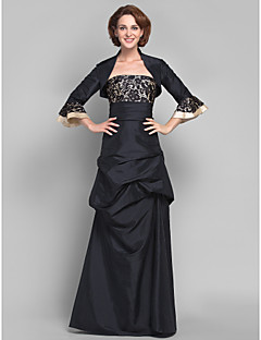 A-line Plus Sizes / Petite Mother of the Bride Dress - Black Floor-length 3/4 Length Sleeve Taffeta / Lace
