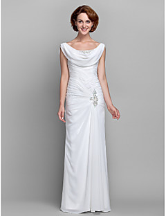 sheath column cowl neck floor length chiffon mother of the bride dress with beading buttons