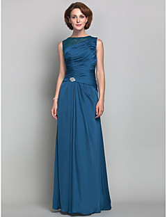 Lanting Sheath/Column Plus Sizes / Petite Mother of the Bride Dress - Ink Blue Floor-length Sleeveless Satin Chiffon