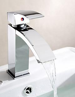 Moderne Centersat Foss with  Keramisk Ventil Enkelt Håndtak Et Hull for  Krom , Baderom Sink Tappekran