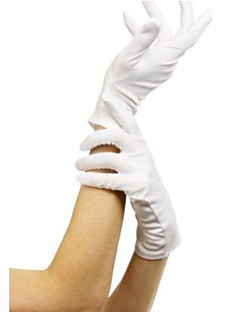 Short White Terylene Halloween Gloves for Women
