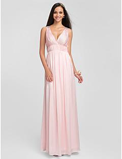 신부 들러리 드레스 - 블러슁 핑크 시스/컬럼 바닥 길이 V넥 엘라스틱 실크같은 사틴 플러스 사이즈