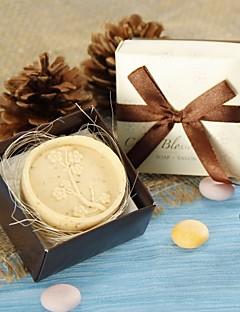 Praktische Gunsten Bath & Zeep Bloemen Thema Wit / Chocolade Linten