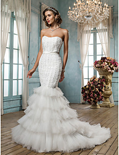 Fit & Flare Plus Sizes Wedding Dress - Ivory Sweep/Brush Train Strapless Satin/Tulle/Lace