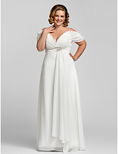 TS Couture Plus Size Prom Formal Evening Dress - Open Back / Petite Sheath / Column Spaghetti Straps Floor-length Chiffon