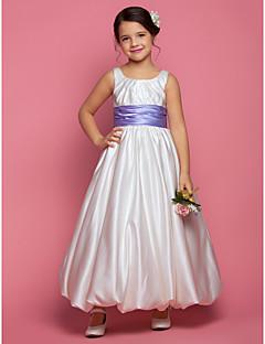 LAN TING BRIDE A-line Princess Ankle-length Flower Girl Dress - Satin Square with Sash / Ribbon Ruching Side Draping