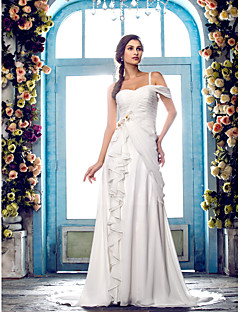 Lanting Bride® A-line Petite / Plus Sizes Wedding Dress - Classic & Timeless / Elegant & Luxurious Sweep / Brush Train One Shoulder