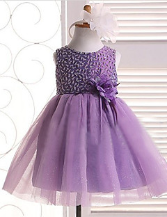 Formal Evening/Wedding Party/Vacation Dress - Lavender/Ivory A-line Jewel Knee-length Satin/Tulle