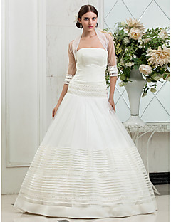 Fit & Flare Plus Sizes Wedding Dress - Ivory Sweep/Brush Train Strapless Tulle