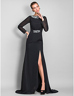 TS Couture Formal Evening / Military Ball Dress - Black Plus Sizes / Petite Sheath/Column Bateau Floor-length Chiffon