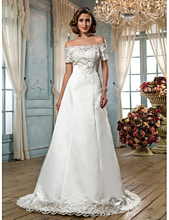 Lanting Bride® A-line Petite / Plus Sizes Wedding Dress - Classic & Timeless / Glamorous & Dramatic Vintage Inspired Sweep / Brush Train