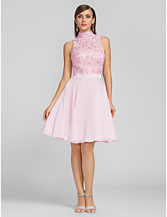 Homecoming Cocktail Party/Prom/Homecoming Dress - Blushing Pink Plus Sizes A-line High Neck Knee-length Chiffon/Lace