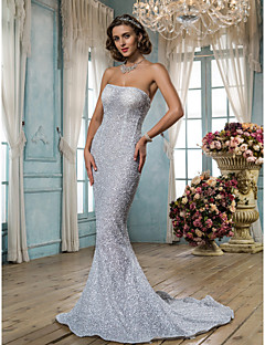Lanting Trumpet/Mermaid Petite / Plus Sizes Wedding Dress - Silver Sweep/Brush Train Strapless Tulle / Sequined