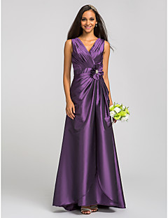Floor-length V-neck Bridesmaid Dress - Floral Sleeveless Taffeta