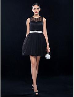Cocktail Party/Wedding Party Dress - Black Plus Sizes A-line Bateau Short/Mini Tulle